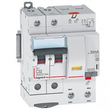 Выключатель автоматический дифференциальный DX3 6000 2п 32А С 30мА тип AС (4 мод) | 411161 | Legrand