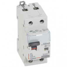 Выключатель автоматический дифференциальный DX3 6000 1п+N 6А С 300мА тип AС | 411021 | Legrand