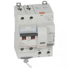 Выключатель автоматический дифференциальный DX3 6000 2п 10А С 300мА тип AС (4 мод) | 411171 | Legrand