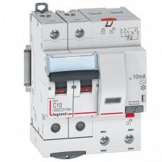 Выключатель автоматический дифференциальный DX3 6000 2п 10А С 10мА тип AС (4 мод) | 411149 | Legrand