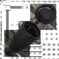 Розетка переносная с защитной крышкой каучуковая 230В 2P+PE 16A IP44 EKF PROxima | RPS-012-16-230-44 | EKF