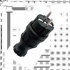 Вилка прямая каучуковая 230В, 2P+PE, 16A, IP44 EKF PROxima | RPS-011-16-230-44 | EKF