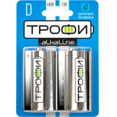 Батарейка щелочная (алкалиновая) Трофи LR20-2BL (12/96/3168) (D) | C0034933 | ЭРА