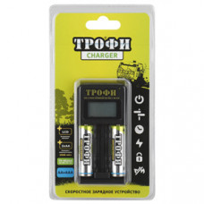 Зарядное устройство Трофи TR-803 AA LCD скоростное+2 HR6 2500mAh (6/24/720) |C0031282 | ЭРА