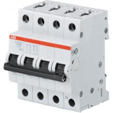 Выключатель автоматический четырехполюсный (3п+N) S203 4А K 6кА (S203 K4NA) | 2CDS253103R0337 | ABB