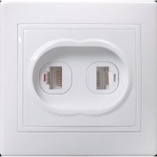 РТ12-КБ Розетка 2местн. телефонная КВАРТА (белый) | ETK20-K01-DM | IEK