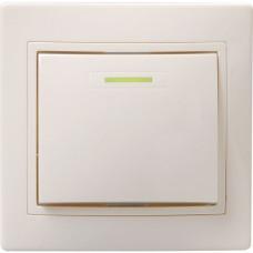 ВС10-1-1-ККм Выключатель 1кл с инд. 10А КВАРТА (кремовый) | EVK11-K33-10-DM | IEK