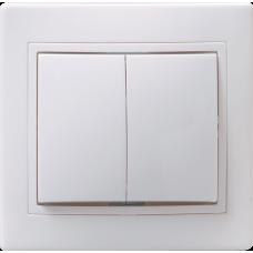 ВС10-2-0-КБ Выключатель 2кл 10А КВАРТА (белый) | EVK20-K01-10-DM | IEK