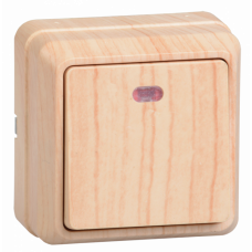 ВС20-1-1-ОС Выключатель 1кл с инд. 10А откр.уст. ОКТАВА (сосна)   EVO11-K03-10-DC   IEK