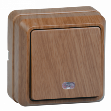 ВС20-1-1-ОД Выключатель 1кл с инд. 10А откр.уст. ОКТАВА (дуб) | EVO11-K04-10-DC | IEK