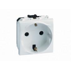 Электрическая розетка с заземлением. со шторками. белая. 2мод. | 76482B | DKC