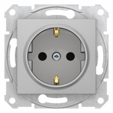 Sedna Алюминий Розетка 16А c з/к, со шторками, быстрозаж. клеммы | SDN3001760 | Schneider Electric