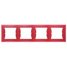 Sedna Красная Рамка 4-ая горизонтальная | SDN5800741 | Schneider Electric