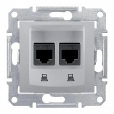 Sedna Алюминий Розетка компьютерная 2-ая RJ45 кат. 5e STP | SDN4600160 | Schneider Electric