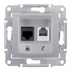 Sedna Алюминий Розетка 2-ая ТЛФ + компьютерная кат.6 UTP (RJ11+RJ45) | SDN5200160 | Schneider Electric