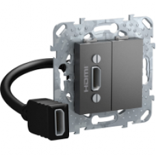 Unica TOP Графит HDMI-коннектор с переходником | MGU5.430.12ZD | Schneider Electric