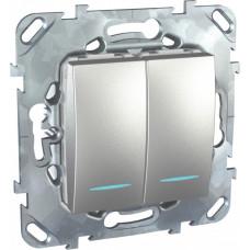 Unica TOP Алюминий Выключатель 2-клавишный (сх.5) с подсветкой | MGU5.0101.30NZD | Schneider Electric