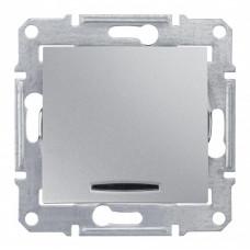 Sedna Алюминий Выключатель 1-клавишный 2-полюсный с индикацией 10A (сх.2) | SDN0201160 | Schneider Electric