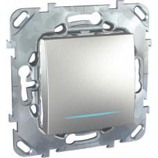 Unica TOP Алюминий Переключатель 1-клавишный (сх.6) с подсветкой | MGU5.203.30NZD | Schneider Electric