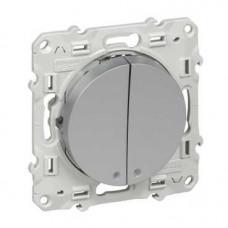 Odace Алюминий Выключатель 2-клавишный с LED подсветкой | S53R221 | Schneider Electric