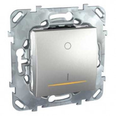 Unica TOP Алюминий Выключатель 1-клавишный 2P 16A с подсветкой | MGU5.262.30SZD | Schneider Electric