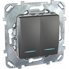 Unica TOP Графит Переключатель 2-клавишный (сх.6+6) с подсветкой | MGU5.0303.12NZD | Schneider Electric