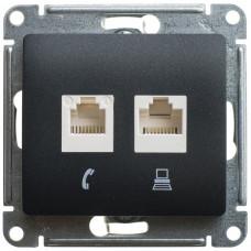 Glossa Антрацит Розетка 2-ая компьютерная RJ45+RJ45, кат.5E | GSL000785KK | Schneider Electric