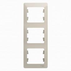 Glossa Молочный Рамка 3-ая, вертикальная | GSL000907 | Schneider Electric