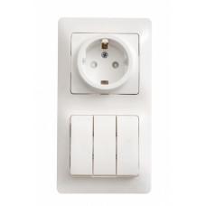 Glossa Белый Блок: розетка с/з со шторками и 3-кл. выключатель | GSL000178 | Schneider Electric
