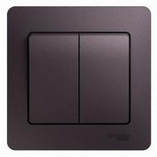 Glossa Сиреневый туман Выключатель 2-клавишный сх.5, 10AX (в сборе) | GSL001452 | Schneider Electric