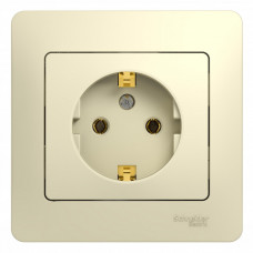 Glossa Бежевый Розетка с/з (в сборе с рамкой) | GSL000242 | Schneider Electric