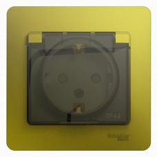 Glossa Фисташковый Розетка с/з со шторками с крышкой IP44 (в сборе) | GSL001048 | Schneider Electric