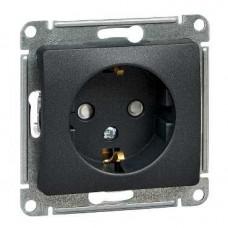 Glossa Антрацит Розетка с/з со шторками, 16А | GSL000745 | Schneider Electric