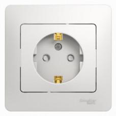 Glossa Белый Розетка с/з со шторками (в сборе с рамкой) | GSL000144 | Schneider Electric