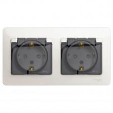 Glossa Перламутр Розетка 2-ая с з/к, со шторками (в сборе), IP44 | GSL000647 | Schneider Electric