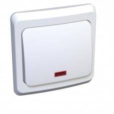 ЭТЮД С/У Белый Выключатель кнопочный 1-клавишный с подсветкой | KC10-002B | Schneider Electric