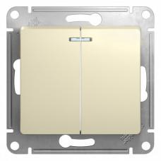Glossa Бежевый Выключатель 2-клавишный с подсветкой, сх.5а, 10АХ | GSL000253 | Schneider Electric