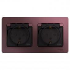 Glossa Баклажановый Розетка 2-ая с з/к, со шторками (в сборе), IP44 | GSL001147 | Schneider Electric