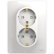 Glossa Белый Розетка 2-я с/з со шторками (в сборе с рамкой) | GSL000126 | Schneider Electric