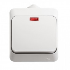 ЭТЮД О/У Белый Выключатель 1-клавишный с подсветкой IP44 | BA10-045B | Schneider Electric