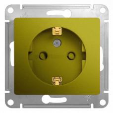Glossa Фисташковый Розетка с/з со шторками | GSL001045 | Schneider Electric