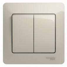Glossa Молочный Выключатель 2-клавишный, сх.5, 10AX (в сборе) | GSL000952 | Schneider Electric