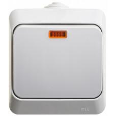ЭТЮД О/У Серый Выключатель 1-клавишный с подсветкой IP44 | BA10-045C | Schneider Electric