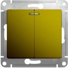 Glossa Фисташковый Выключатель 2-клавишный с подсветкой, сх.5а, 10AX | GSL001053 | Schneider Electric
