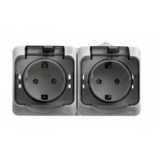 ЭТЮД О/У Серый Розетка 2-я с/з со шторками c крышкой IP44 | PA16-244C | Schneider Electric