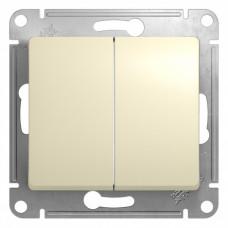 Glossa Бежевый Выключатель 2-клавишный, сх.5, 10АХ | GSL000251 | Schneider Electric