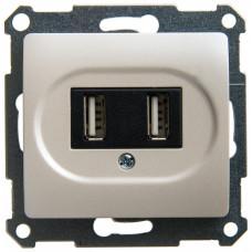 Glossa Перламутр Розетка USB 5В/1400 мА, 2х5В/700мА (GSL000632) | GSL000632 | Schneider Electric
