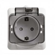 ЭТЮД О/У Белый Розетка 1-ая с/з с крышкой, с защитными шторками IP44 | PA16-044B | Schneider Electric