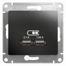 Glossa Антрацит USB Розетка,5В/2100мА, 2х5В/1050мА, механизм | GSL000733 | Schneider Electric