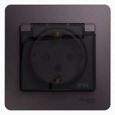 Glossa Сиреневый туман Розетка с/з со шторками с крышкой IP44 (в сборе) | GSL001448 | Schneider Electric